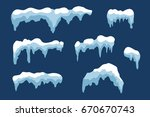 snow ice icicle set winter... | Shutterstock .eps vector #670670743