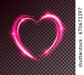 shiny heart shaped frame on... | Shutterstock .eps vector #670671397