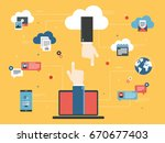 hands on laptop and cloud... | Shutterstock .eps vector #670677403