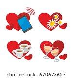 set of 4 editable love icons.... | Shutterstock .eps vector #670678657