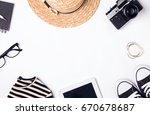 feminine accessories for travel....   Shutterstock . vector #670678687