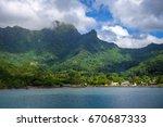 moorea island harbor and... | Shutterstock . vector #670687333