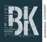 brooklyn typography  tee shirt... | Shutterstock .eps vector #670702597