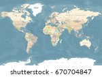world map in vintage style.... | Shutterstock .eps vector #670704847