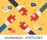 hands holding puzzle pieces and ... | Shutterstock .eps vector #670711363