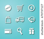 shopping paper art icons ... | Shutterstock .eps vector #670737127