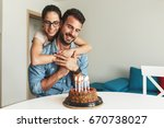 husband's birthday.wife... | Shutterstock . vector #670738027