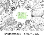 healthy food frame vector... | Shutterstock .eps vector #670742137