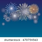 brightly colorful fireworks on... | Shutterstock .eps vector #670754563
