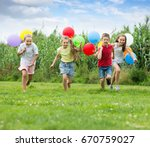 four happy kids playing and... | Shutterstock . vector #670759027