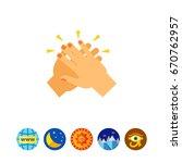 two hands giving five vector... | Shutterstock .eps vector #670762957