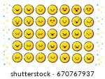 trendy flat line emoticons pack.... | Shutterstock .eps vector #670767937