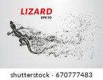 Lizard Of Particles. Silhouett...