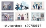different situations in police... | Shutterstock .eps vector #670780597