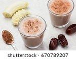 healthy banana dates milk shake ... | Shutterstock . vector #670789207