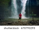waterfall landscape and... | Shutterstock . vector #670793293