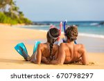 beach couple relaxing on summer ... | Shutterstock . vector #670798297