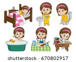 set of daily cute girl wake up... | Shutterstock .eps vector #670802917