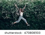 happy hipster woman in... | Shutterstock . vector #670808503