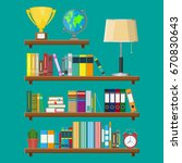 library wooden book shelf.... | Shutterstock .eps vector #670830643
