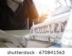 logistic concept  manager... | Shutterstock . vector #670841563