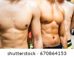athletes with beautiful muscles ... | Shutterstock . vector #670864153