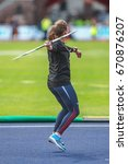 Small photo of STOCKHOLM, SWEDEN - JUNE 18, 2017: Woman javelin throw at the rack and field atletics in IAAF Diamond leauge Bauhaus Galan at Stockholm stadion.