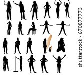 twenty one woman silhouettes... | Shutterstock .eps vector #670877773