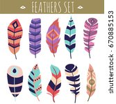 collection ethnical feathers... | Shutterstock .eps vector #670885153