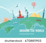 travel composition with famous... | Shutterstock .eps vector #670885903