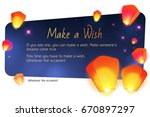 sky lanterns  floating. make a... | Shutterstock .eps vector #670897297