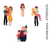 family members   parents... | Shutterstock .eps vector #670902223