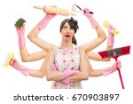 very busy multitasking...   Shutterstock . vector #670903897