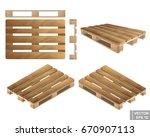 set. wooden pallet. realistic.... | Shutterstock .eps vector #670907113