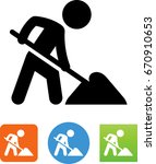man working with a shovel icon | Shutterstock .eps vector #670910653