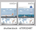 aviation flyers set with jet... | Shutterstock .eps vector #670932487