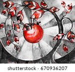 oil painting on canvas ...   Shutterstock . vector #670936207