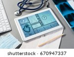 white tablet pc and doctor... | Shutterstock . vector #670947337