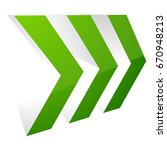 3d glossy arrow icon. triple... | Shutterstock .eps vector #670948213
