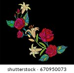 embroidery design roses and... | Shutterstock .eps vector #670950073