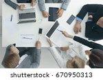 business people brainstorming... | Shutterstock . vector #670950313