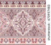 beautiful indian floral paisley ... | Shutterstock .eps vector #670957483