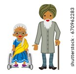 senior couple  indian | Shutterstock .eps vector #670962283