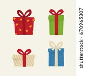 set of textured icons of gift... | Shutterstock .eps vector #670965307