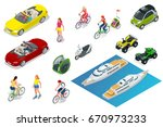 isometric people and transport. ... | Shutterstock .eps vector #670973233