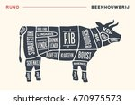 meat cuts. poster butcher... | Shutterstock . vector #670975573