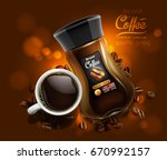 design of advertising coffee... | Shutterstock .eps vector #670992157