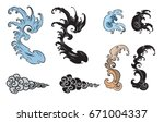 japanese wave tattoo. hand... | Shutterstock .eps vector #671004337