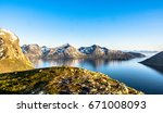 norway water and mountains | Shutterstock . vector #671008093