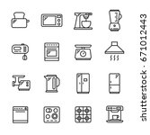 set of 16 kitchen appliances... | Shutterstock .eps vector #671012443
